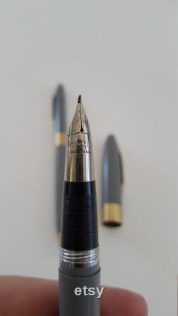 Vintage circa 1950's Sheaffer's Snorkel Fountain Pen and Mechanical Pencil set, White Dot grey with gold trims