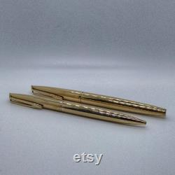 Waterman USA gold plated fountain pen and ballpoint pen, vintage 18K gold nib fountain pen