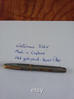 Watermans 512 V fountain pen made in England circa 1940s 14k gold nib silver grey vest fountain pen